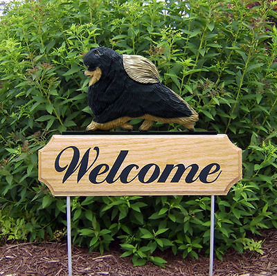 Pomeranian Dog Breed Oak Wood Welcome Outdoor Yard Sign Black & Tan