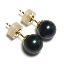 7.5-8MM Akoya Black Pearl 18K Yellow Gold Earring Studs