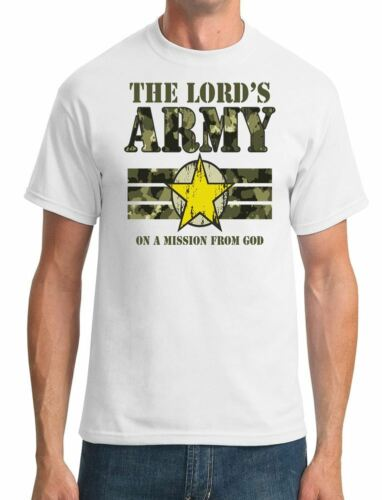 Funny Religious Mens T-Shirt The Lords Army On A Mission From God