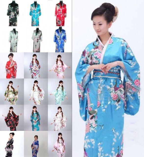 Japanese Kimono Vintage Yukata Haori Costume Geisha Dress Obi Retro Gown Robes