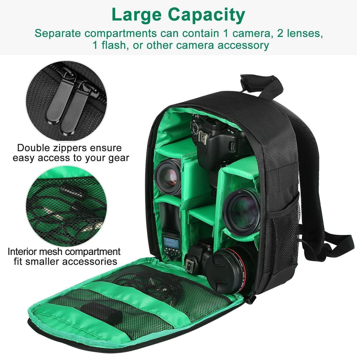 Mihaojianbing Stylish Personality Green Large-Capacity SLR Camera Backpack Professional Waterproof Shock-Proof Camera Bag Lens and Tripod Accessories High-Capacity Storage-30 X 19 X 45CM Pratical