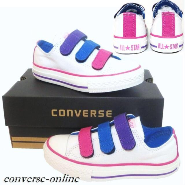 d802322f5f44 KIDS Boys Girls CONVERSE All Star WHITE 3 STRAP Juniors Trainers Shoes UK  SIZE 5