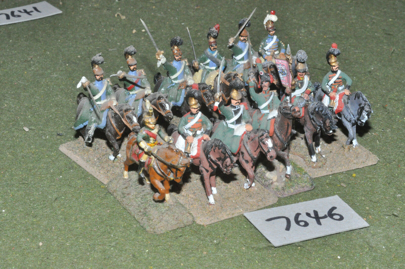 25mm napoleonic   french - 12 light cavalry metal painted - cav (7646)
