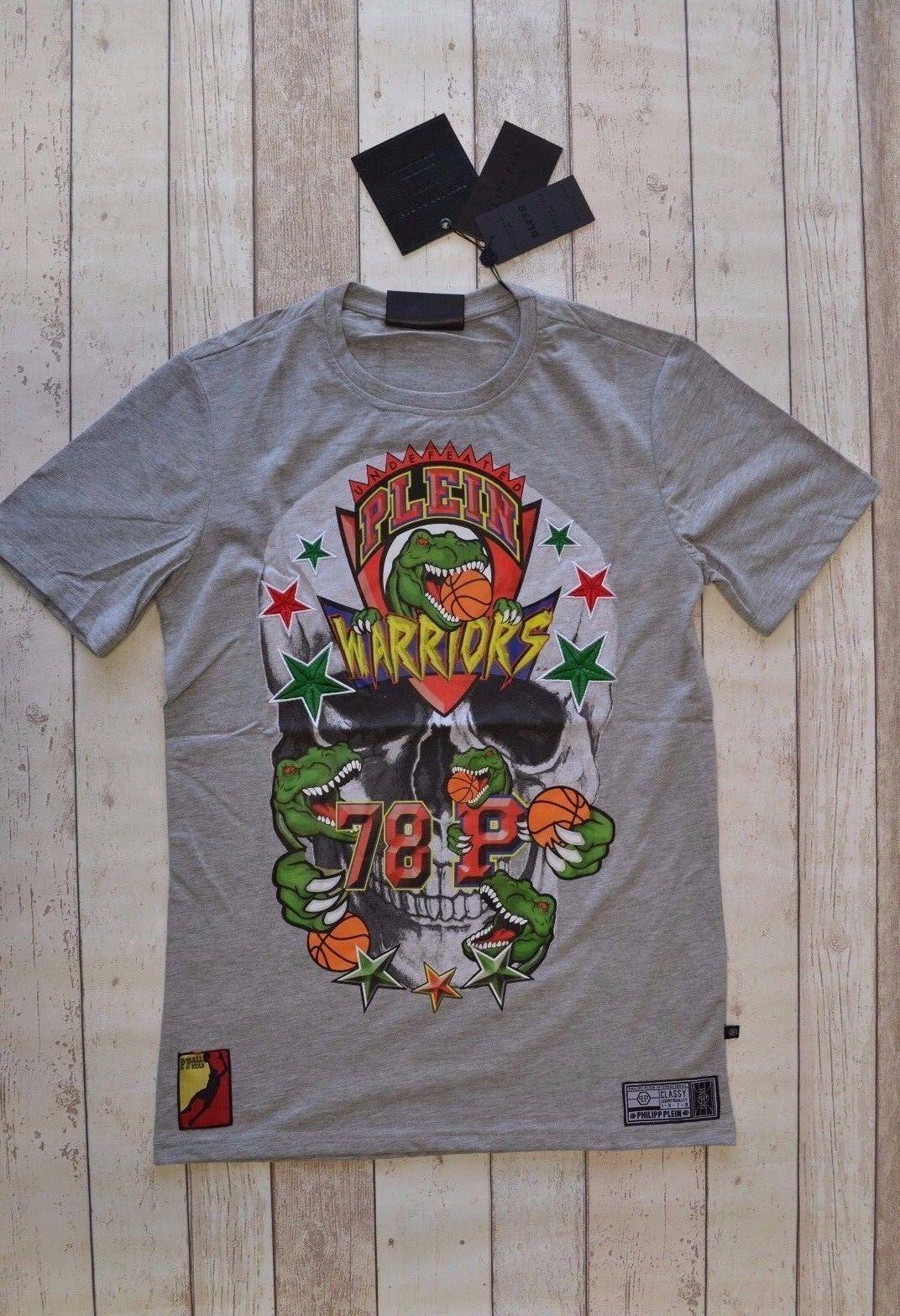 BNWT PHILIPP PLEIN  arilide  T-Shirt Grigio GUERRIERO Basket camiseta maglietta