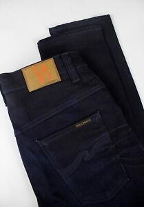 NUDIE-JEANS-THIN-FINN-DARK-SHINE-Men-039-s-W30-L32-Stretch-Dark-Blue-Jeans-1230-le