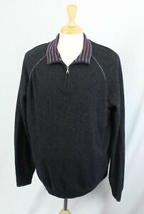 Marks-amp-Spencer-Mens-Blue-Harbor-Merino-Wool-Dark-Gray-1-4-Zip-Sweater-2XL-XXL