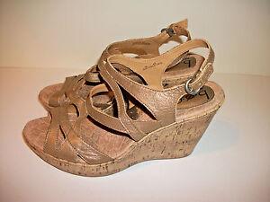 B-O-C-Born-Concept-Leather-Sandals-Cork-Wedge-Metallic-Gold-Women-039-s-Sz-10