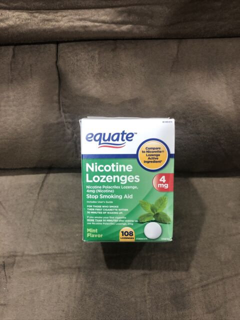 Equate Nicotine Lozenges, Mint Flavor, 4 mg, 108 Count Sealed Exp 10/22