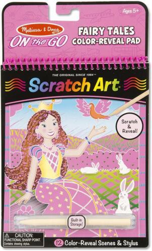 Melissa /& Doug 9140 On the Go Scratch Art Color-Reveal Activity Pad Fairy Tales