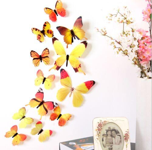 3D Butterfly Wall Decor Cute Butterflies Wall Stickers Art Decals hot sale Gift