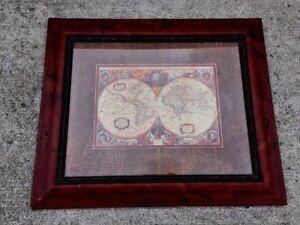 Vintage-Stunning-ORBIS-GEOGRAPHICA-World-Globe-Lithograph-Framed-Art-Paragon