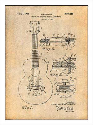 1952 Gibson Guitar Bridge Patent Print Art Drawing Poster 18X24