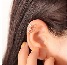 1 X SILVER 3 BAND TOP BONE EAR CUFF CLIP WRAP PUNK ROCK STUD UK
