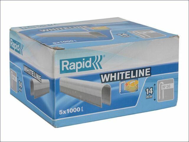 Rapid - Caja de grapas blanca de 36/14 14 mm DP x 5 m, 5 x 1000