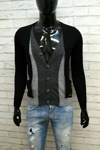 Maglione-ICEBERG-Taglia-S-Slim-Shirt-Cardigan-Pullover-Lana-Uomo-Nero-Grigio