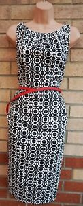 NINE-WEST-WHITE-BLACK-FLORAL-RED-BELTED-SLEEVELESS-PENCIL-BODYCON-DRESS-6-XS