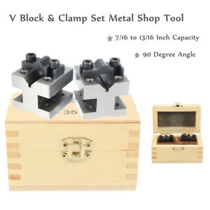 90-V-Block-amp-Clamp-Set-7-16-to-13-16-039-039-Precision-Hardened-Steel-Machinist-Tool