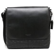 NWT Coach Mens BLACK Signature Embossed Charles Messenger Bag F72220 - New $425