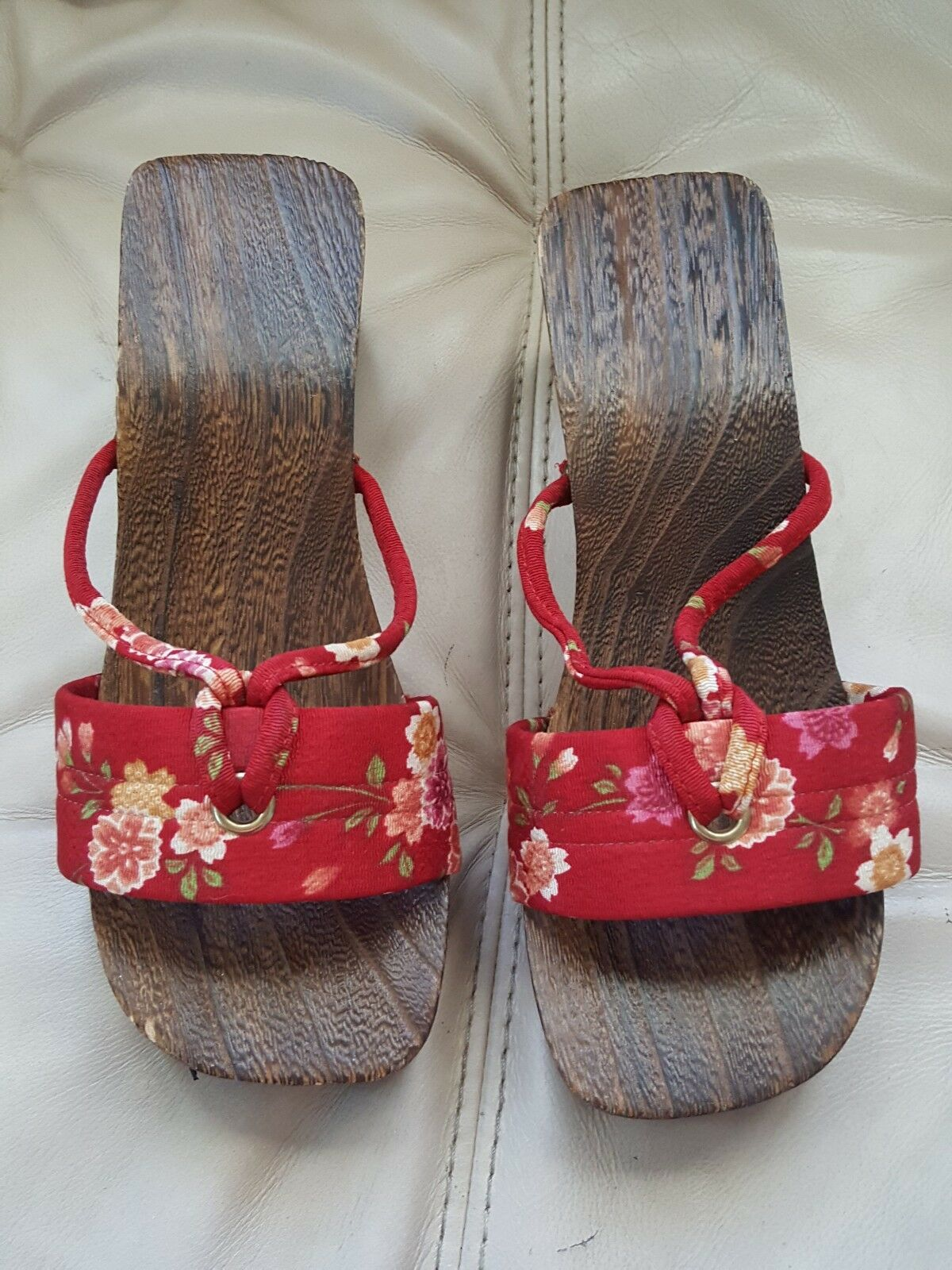 Chic Bohemian Red Oriental Wooden Japanese Sandals Red Bohemian Women's Size 7 544459