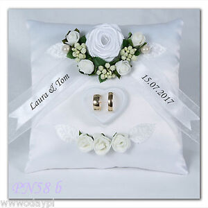 Image Is Loading Personalised Wedding Ring Cushion Pillow With Rings Holder