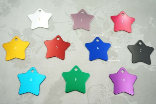 50pcs- Color Aluminium Plate for Dog ID tag Blank Star