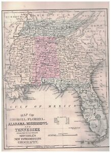Details about 1879 Map Of Georgia Florida Alabama Mississippi and Tennessee
