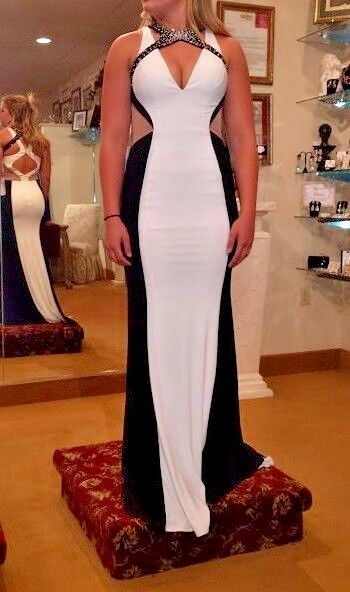 Prom Dress sz 2 Black White Sequins Formal Gown Stunning