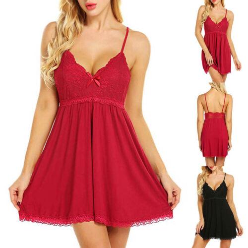 Details about  /Women Lingerie Underwear Lace Robe Dress Babydoll Nightdress Nightgown Sleepwear