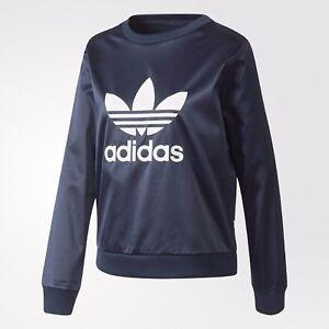 Originals Adidas Mediumbp9387 ~size Satin New Women's Trefoil About Sweatshirt Details Blue srdxChQtB