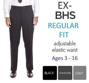 Ex-BHS-Boys-Black-Charcoal-Grey-Regular-Fit-School-Trousers-Age-3-16-Adjustable