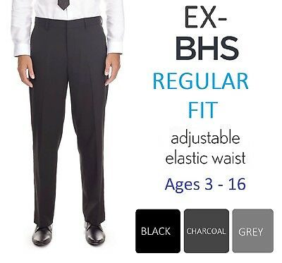 BHS BOYS School Trousers *BLACK *CHARCOAL *GREY REGULAR FIT AGE 3-15 BNWOT