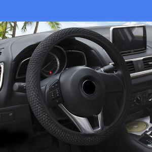 Black-Anti-slip-Durable-15-039-039-38cm-Car-Steering-Wheel-Cover-Microfiber-Breathable