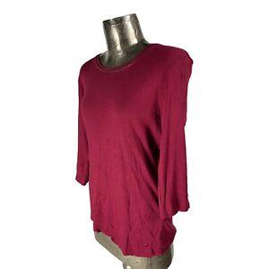 Olsen Berry Red Organic Cotton Top T-Shirt NEW UK L 16 (EU44) Women's RRP £35