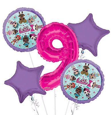 LOL Surprise Balloon Bouquet 9th Birthday #9 Foil Mylar Balloons