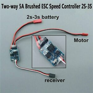 Two-way-5A-Buersten-Motor-ESC-Speed-Controller-2S-3S-fuer-RC-Cars-Boats-Zubehoer