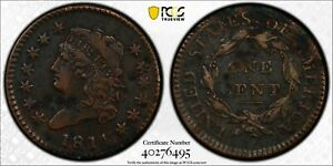 1814 1C  CLASSIC HEAD LARGE CENT CROSSLET 4 PCGS VF DETAILS #40276495 LOOKS XF!