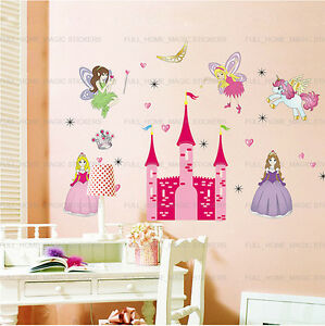 Image is loading X-Large-Pink-Fairy-Princess-Castle-Wall-Stickers-  sc 1 st  eBay & X-Large Pink Fairy Princess Castle Wall Stickers Girls Kids Bedroom ...