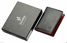 Starhide Designer Black Red Veg Tanned Luxury Leather Mini Wallet Gift Boxed 815