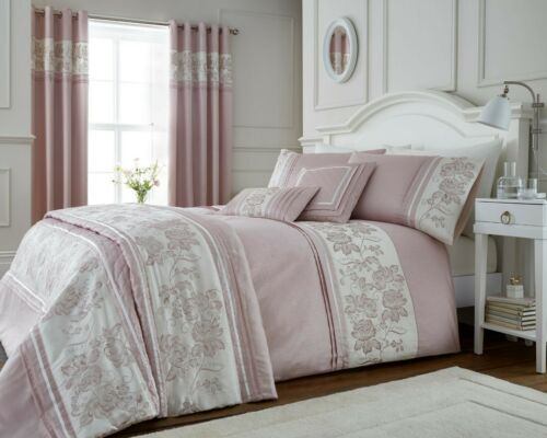 Emily Floral Embroided Panel Bedding In Blush