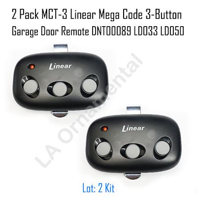 2 Pack MCT-3 Linear Mega Code 3-Button Garage Door Remote ...