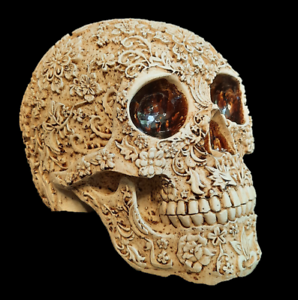 Unique-Engraved-Floral-Realistic-Life-Size-HUMAN-SKULL-Resin-Model-Decorated-Art