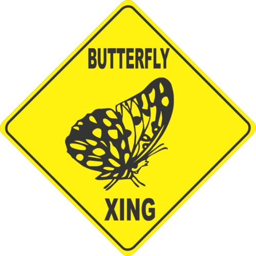 """13/"""" x 13/"""" plastic Butterfly sign xing Crossings animal"""