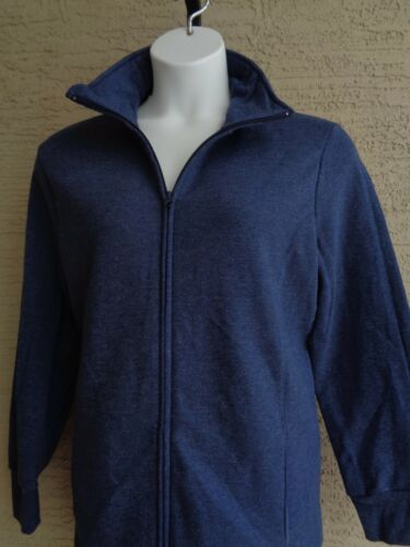 New Just My Size Cotton Blend Fleece Lined Zip Front Mock Neck Jacket 1X navy