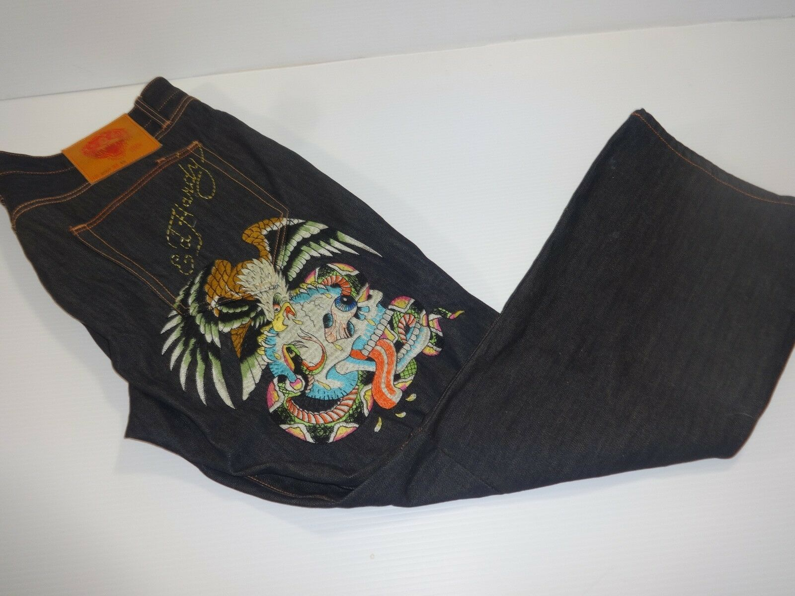 Mens Ed Hardy by Christian Audigier Embroidered Button Fly Jeans - Size 40x32