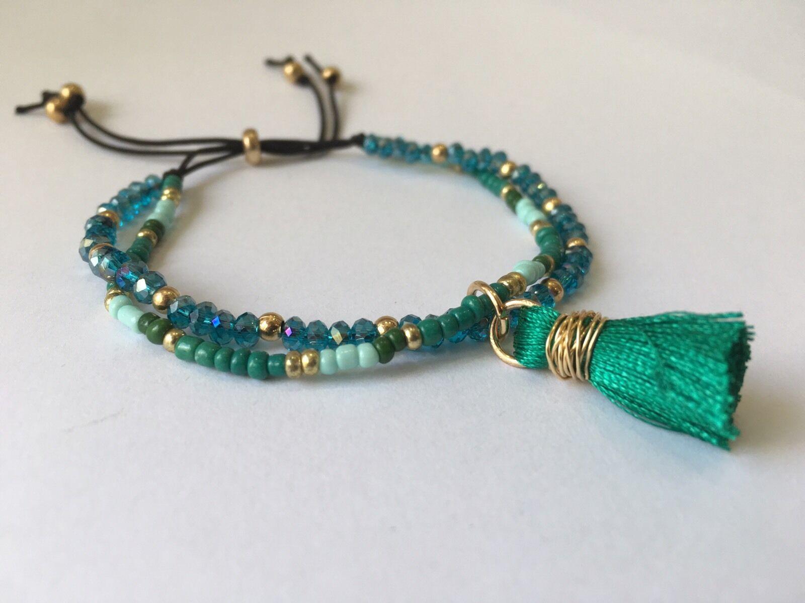 teal tassel bracelet