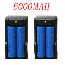 4PC 6000mAh BRC 3.7v 18650 Rechargeable Li-ion Battery+2XSmart Charger