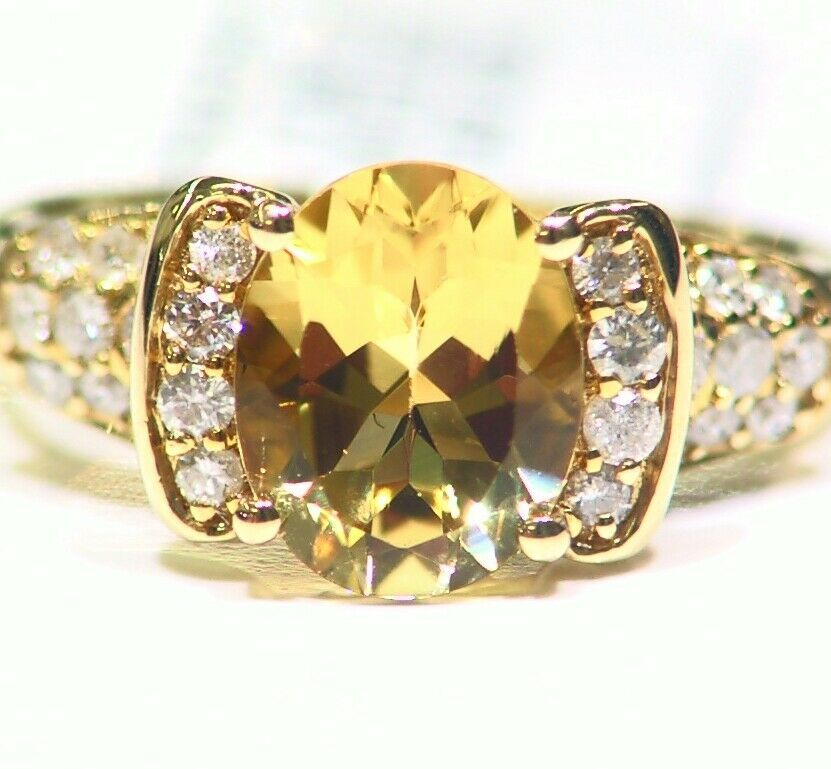 2.74CT 14K Solid gold Natural Yellow Beryl White Diamond Vintage Engagement Deco