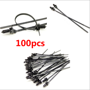 100PCS Car Releasable Self-locking Nylon Wire Band Tie Wrap Cable Clips Fastener