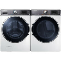 Samsung White 5.6 Cf Washer And 9.5 Cf Gas Dryer Front Load Laundry Set