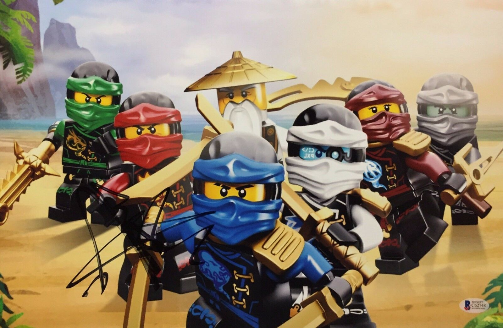 Jackie Chan Signed Lego Ninjago 11x17 Photo BAS Beckett C62748